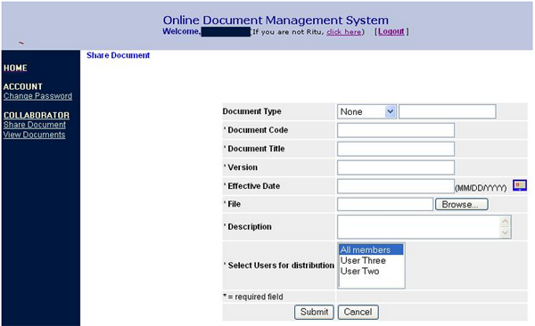 Online document management and sharing system